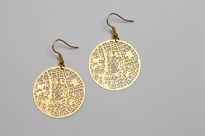 Open Street Maps Gold Earrings